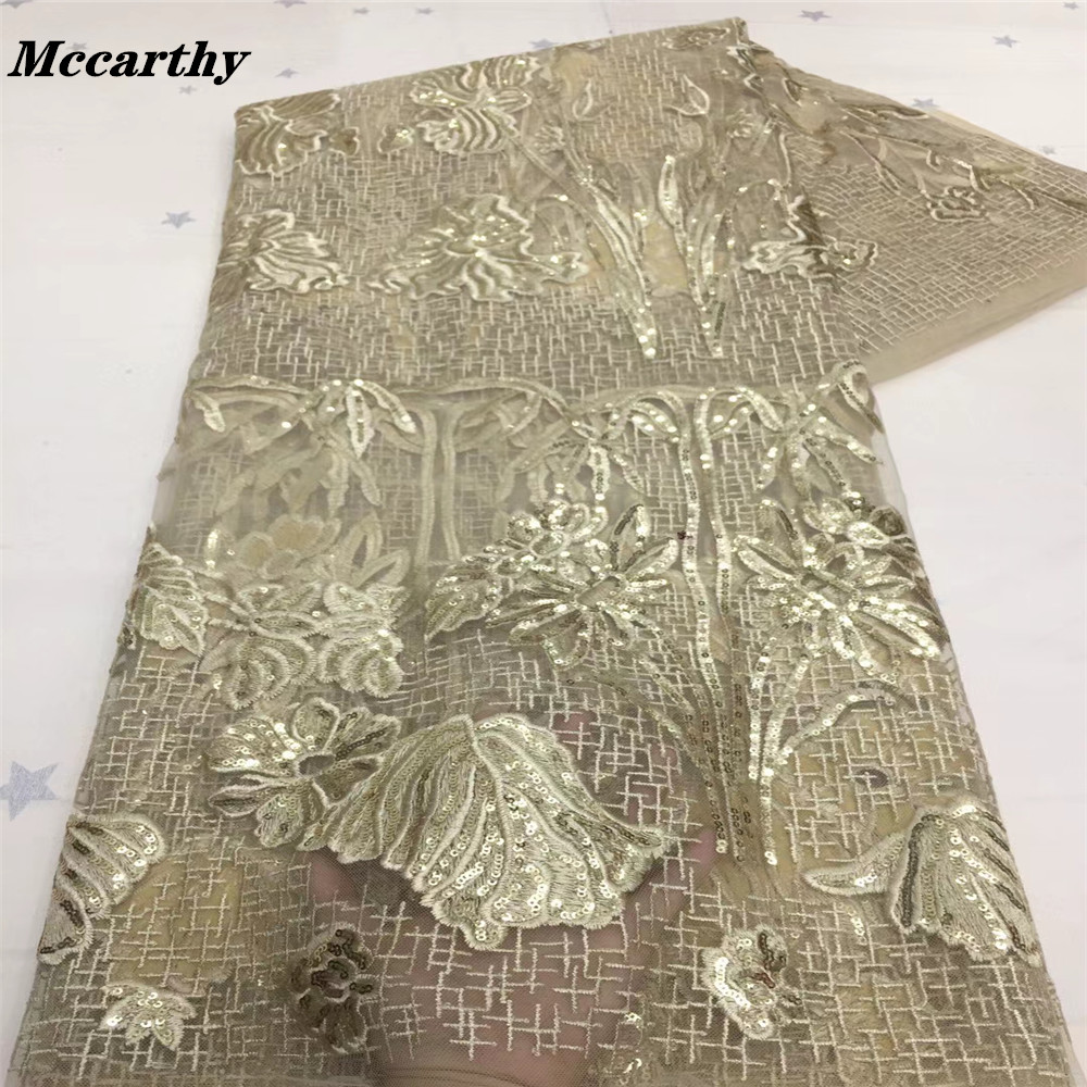 Nattier America Sequin Fabric For Evening Dress Lace Material Hot Glued Glitter Tissus Dry Lace Fabric Mesh Sequin Fabric