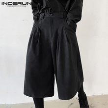 Skirts Leg-Pants Joggers INCERUN Button Pockets Trousers Men Streetwear Loose Fashion