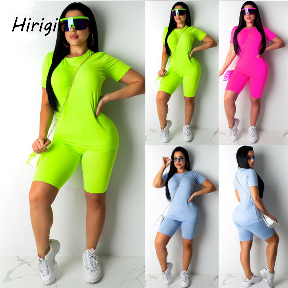 Women 2 Pcs Sport Bodycon Top+Shorts Sport Suit Sexy Slim Running Casual Bodycon Set 2020 New Fashion Solid T-Shirt And Gym Suit