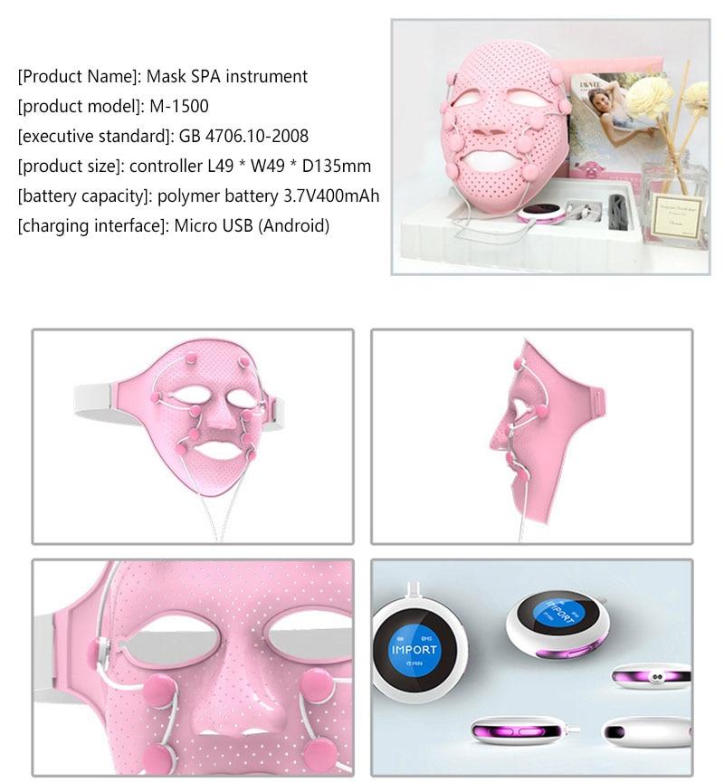 3d silicone máscara facial beleza micro-corrente led