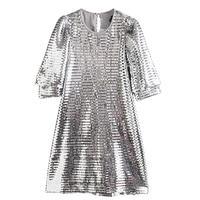 Sequin Casual Silver Dress Party Club Glitter Dress Straight Spring Shine Dress Women Chic Vintage Vestidos