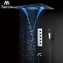 Rainfall LED Showerhead 60*80cm Waterfall Shower Heads Misty Thermostatic Shower Faucet Mixer Ceiling Mounted Shower Set 304SUS цены