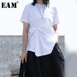 Женская Асимметричная плиссированная футболка EAM, белая футболка с круглым вырезом и коротким рукавом, весна-лето 2020, 1W253