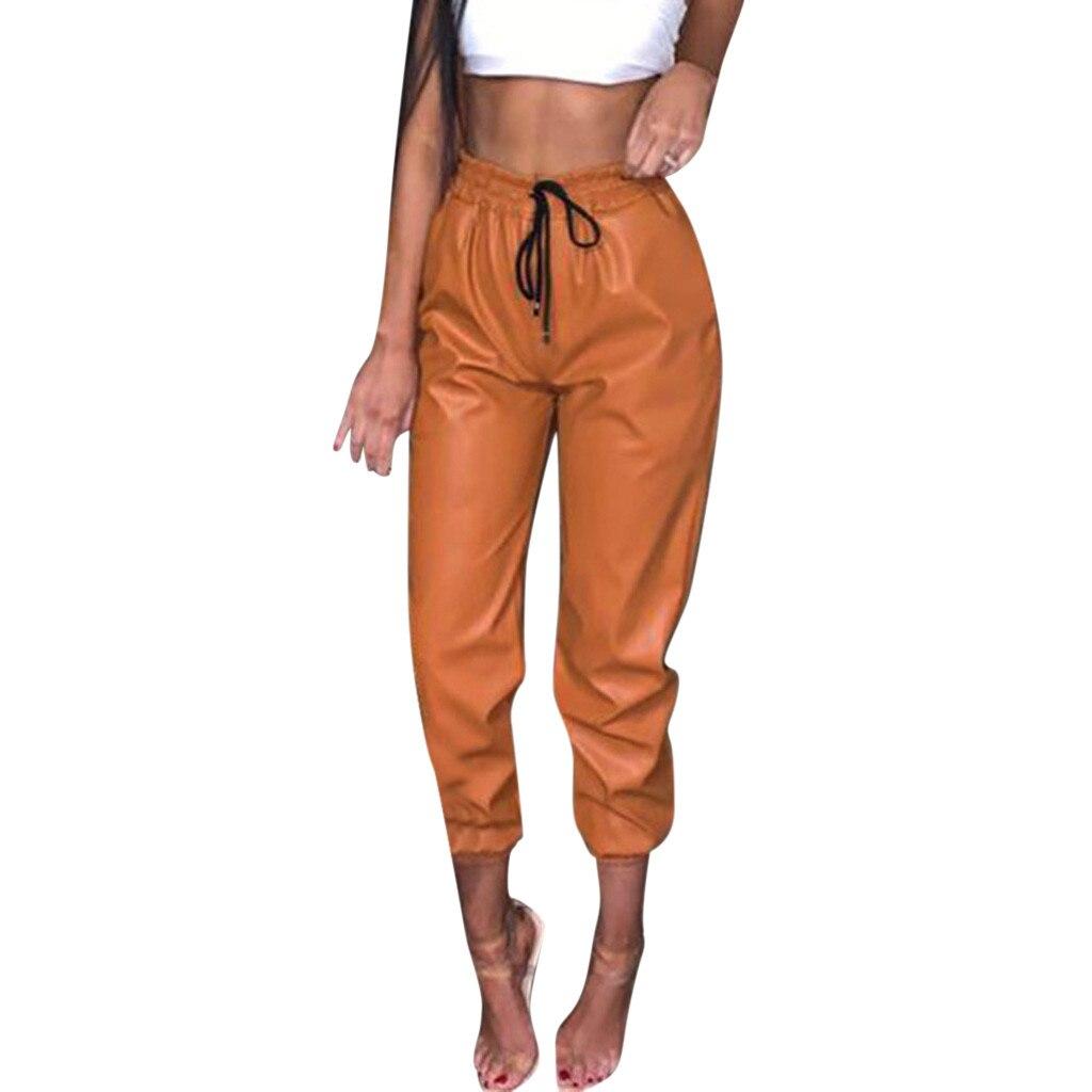 Elastic High Waist Pant Women Black Pu Leather Pants Women Harem Pants Joggers Pencil Trousers Streetwear Pantalon Femme #SYS