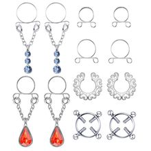 6 Pairs Safety Fake Nipple Rings Women Non-Piercing Dangle Screw Clip