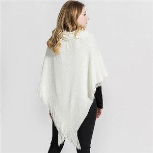 Image 5 - 2019 新デザイン冬暖かい固体ポンチョやケープ女性特大ショールラップカシミアパシュミナ女性 Bufanda