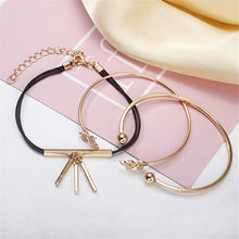 2019 Real Bileklik Bracelets & Bangles And American Fashion Simple Ladies New Leaf 3-piece Rope Bracelet Manufacturer Wholesale(China)