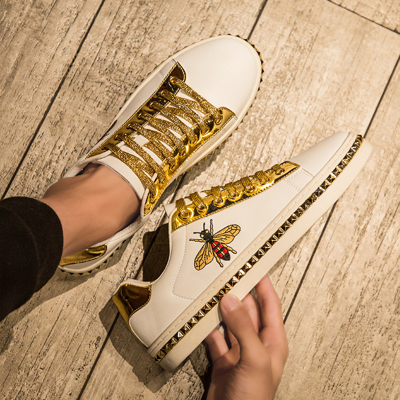 2019 Spring Autumn New Retro Trend Men And Women Casual Shoes Skateboard Shoes Bee White Shoes Leather Male Sneakers