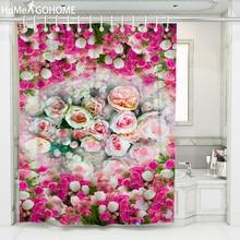 Pink Rose Flowers Shower Curtain Bathroom Curtains 3D Waterproof Colorful Printed Bath Shower Curtain Boho rideau de douche New waterproof snowman printed bath christmas shower curtain