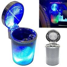 Araba küllük LED ışık sigara dumanı seyahat sökücü kül silindir araba dumansız duman bardak tutucu kolay temiz araba aksesuarları
