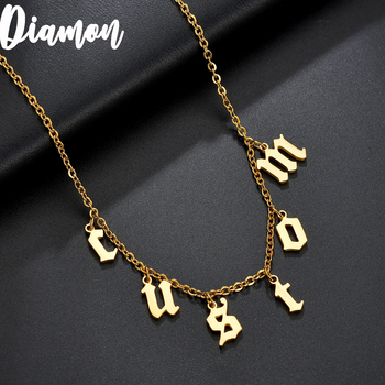 Diamon 2020 New Personalized Name Necklaces for Women Old English Nameplate Jewelry Stainless Steel Custom Letter Necklace