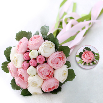 Rose Flowers Bridal Wedding Bouquets 20 Handmade Flowers Wedding Accessories Flowers with Ribbon 2018 New Arrival Bridal Gift new arrival background fundo many flowers bloom backgrounds 5x7ft s 991