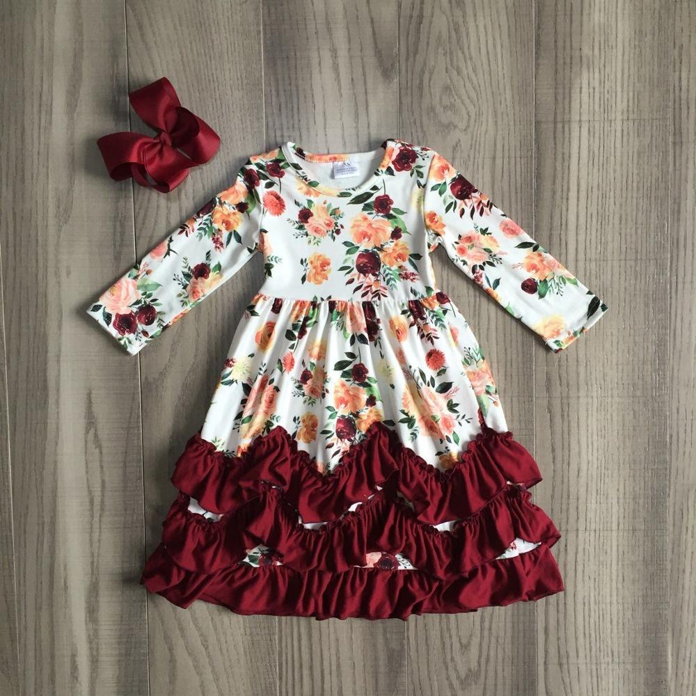 autumn fall/winter girls clothes wine burgundy floral flower milk silk ruffle baby kids clothes ruffles maxi dress match bow kid 1