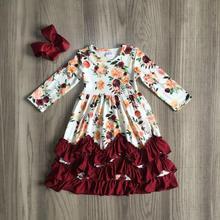 Sonbahar sonbahar/kış kız giysileri şarap bordo çiçek çiçek süt ipek fırfır bebek çocuk giysileri ruffles maxi elbise maç yay çocuk