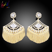 Yulaili 2019 Newest Fashion Luxury Crystal Imitation Pearl Big Tassel Earrings for Women Wedding Jewelry Gifts Free Shipping