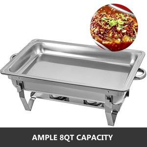 Image 5 - 食品擦過皿 4 個 9Lステンレス鋼フルサイズコガネムシビュッフェ水パン燃料ホルダーやふたケータリングウォーマー
