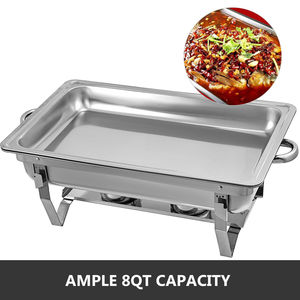 Image 5 - Chafing Dish 4 Packs 9L Stainless Steel Chafer Rectangular Chafers for Catering Buffet Warmer Set with Folding Frame