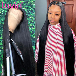 Luvin Wigs Human-Hair Lace-Front Glueless Black Straight 13x6 Brazilian 28-30inch Woman