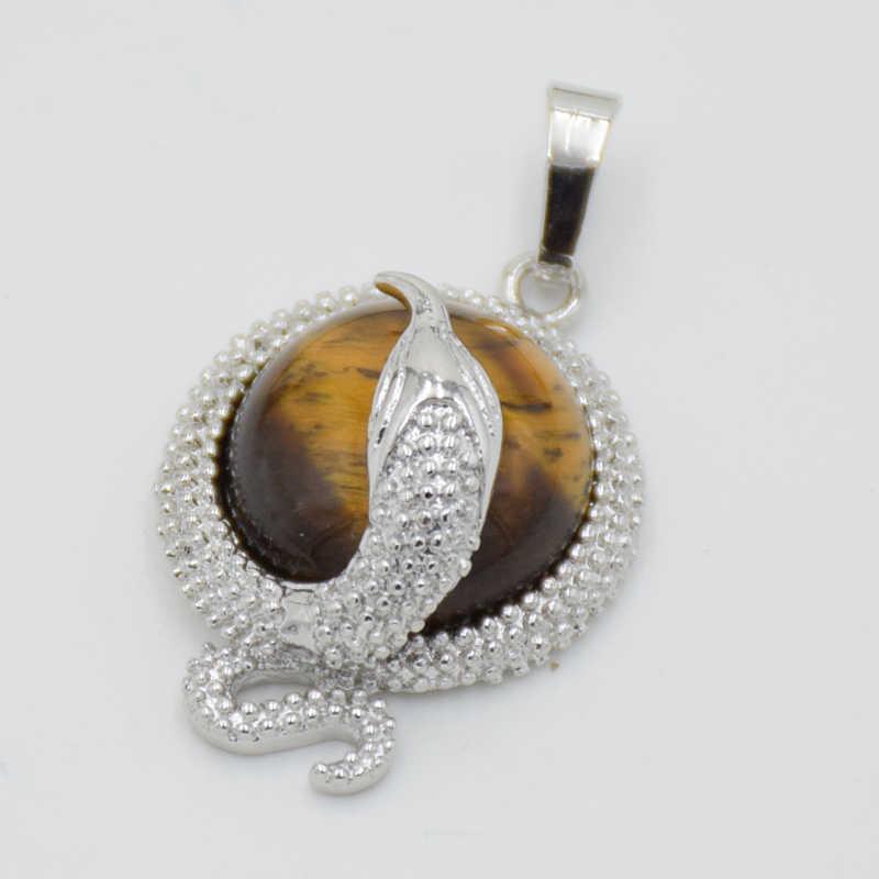 สัตว์งู Cabochon จี้หินธรรมชาติสำหรับสร้อยคอ DIY สร้อยคอคริสตัล Quartzs สีดำ ONYX ลูกปัดผู้หญิงผู้ชาย Amulet Charms เครื่องประดับ