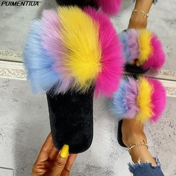 PUIMENTIUA Rainbow kobiety futro slajdy sztuczne futro z lisa puszyste kapcie Furry sandały na płaskim obcasie kryty klapki pluszowe futro kapcie domowe tanie i dobre opinie Niska (1 cm-3 cm) Pasuje prawda na wymiar weź swój normalny rozmiar Podstawowe Stałe Wiosna jesień Poza Mieszkanie z