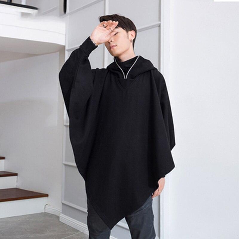 M-4XL Winter tide men's men's coat cloak cape long woolen student clothes trench coat shawl coat hooded
