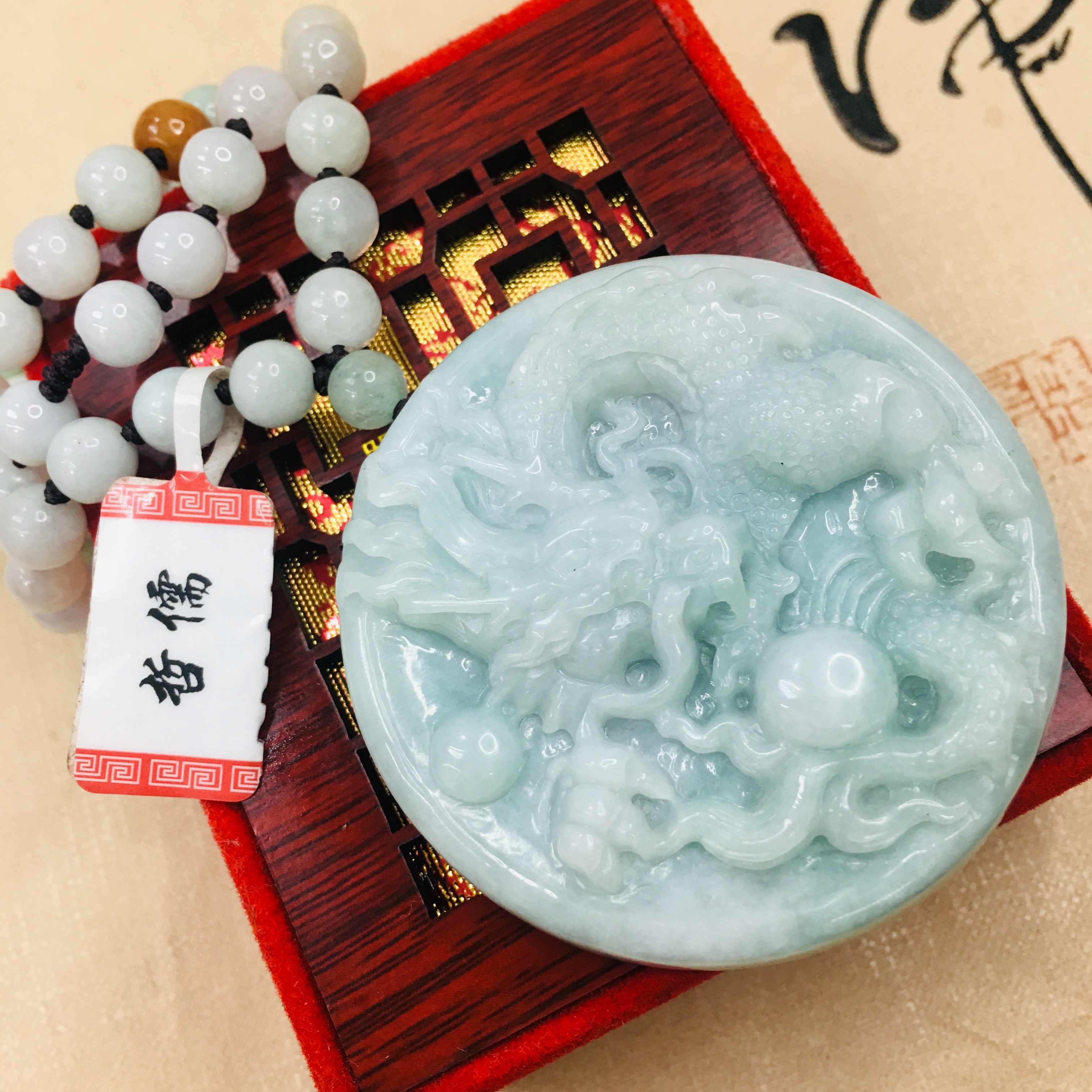 Zheru 純粋な天然硬玉彫刻ライトグリーン大ドラゴン再生ビーズペンダント三色ビーズのセーターチェーンを送信を certif