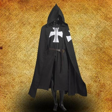 1pc preto guerreiro medieval cosplay traje cavaleiro templário manto robe