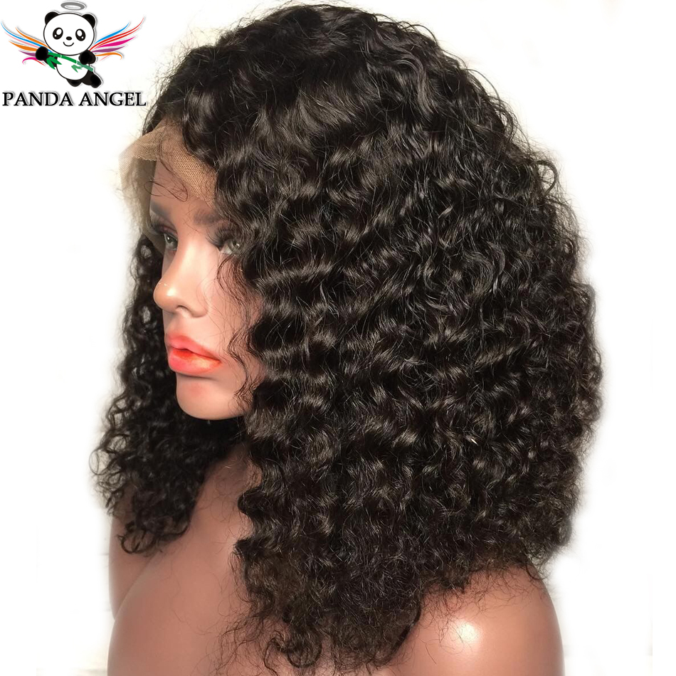 Panda 13*4 Kinky Curly Lace Front Human Hair Bob Wigs Pre-Plucked Bleached Knots Remy Indian 150% Density Short Bob Lace Wigs