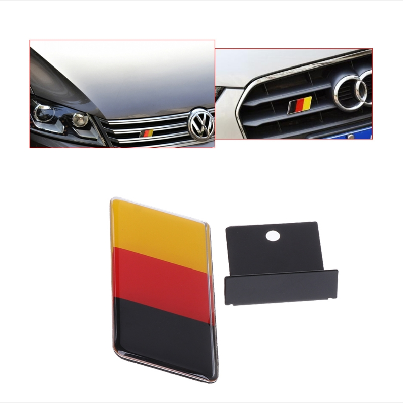 German Flag Grille Emblem Badge for Volkswagen Scirocco GOLF 7 Golf 6 Polo GTI VW Tiguan for Audi A4 A6 Car Accessories