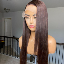Human-Hair-Wigs Frontal Chocolate Guleless 360-Lace Straight Brown with 180density/Guleless/360-lace