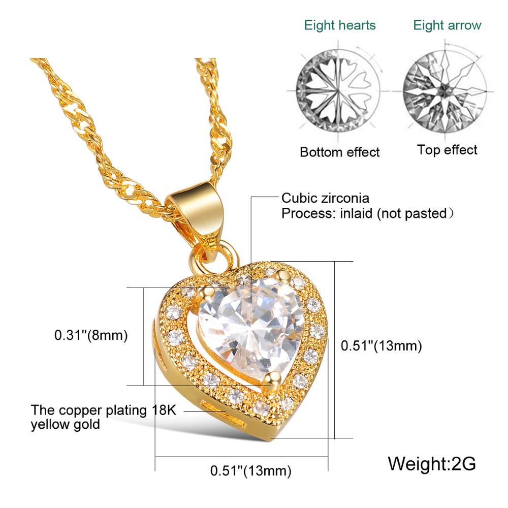 CH 543 Merk Luxe Kubieke Zirkoon Hart Hanger Ketting Rose Goud Kleur CZ Crystal Ketting Vrouwen Gift - 3