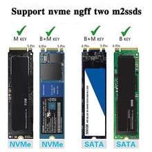 M2 aletsiz sabit Disk muhafaza SATA + NVME çift amaçlı 10Gbps SSD durumda muhafaza Disk kutusu yüksek hızlı sabit Disk iletimi B0X0