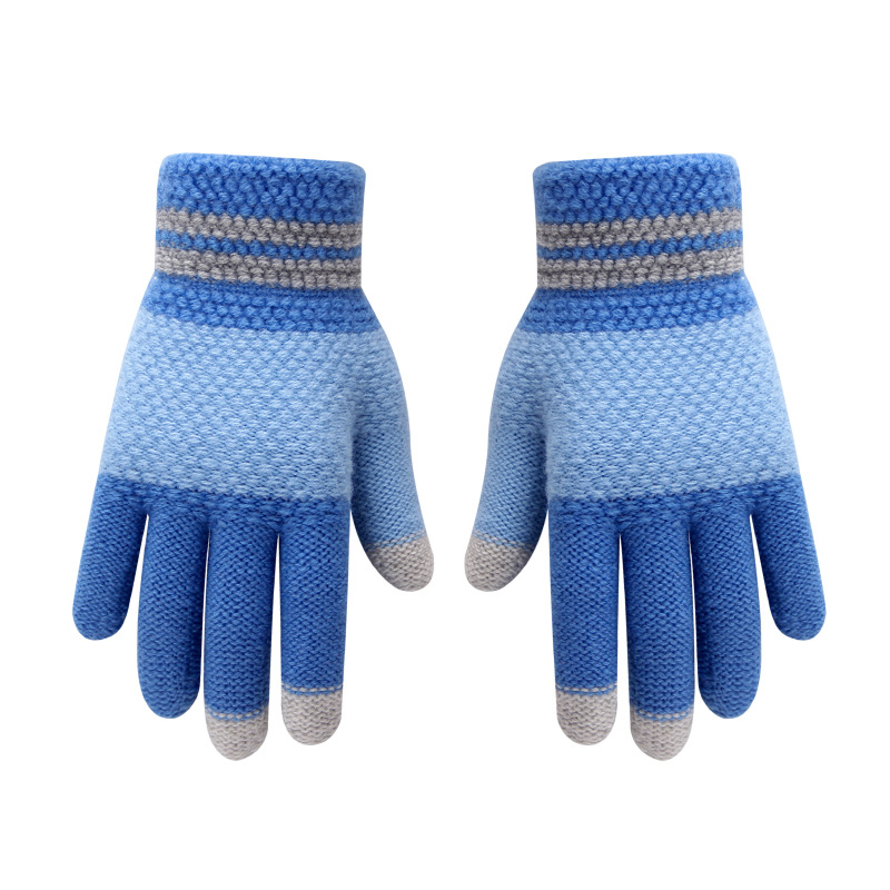 Winter Kids Gloves Warm Knitted Touch Screen Gloves For Kids Patchwork Color Five Finger Outdoor Children Gloves Students 5-12Y