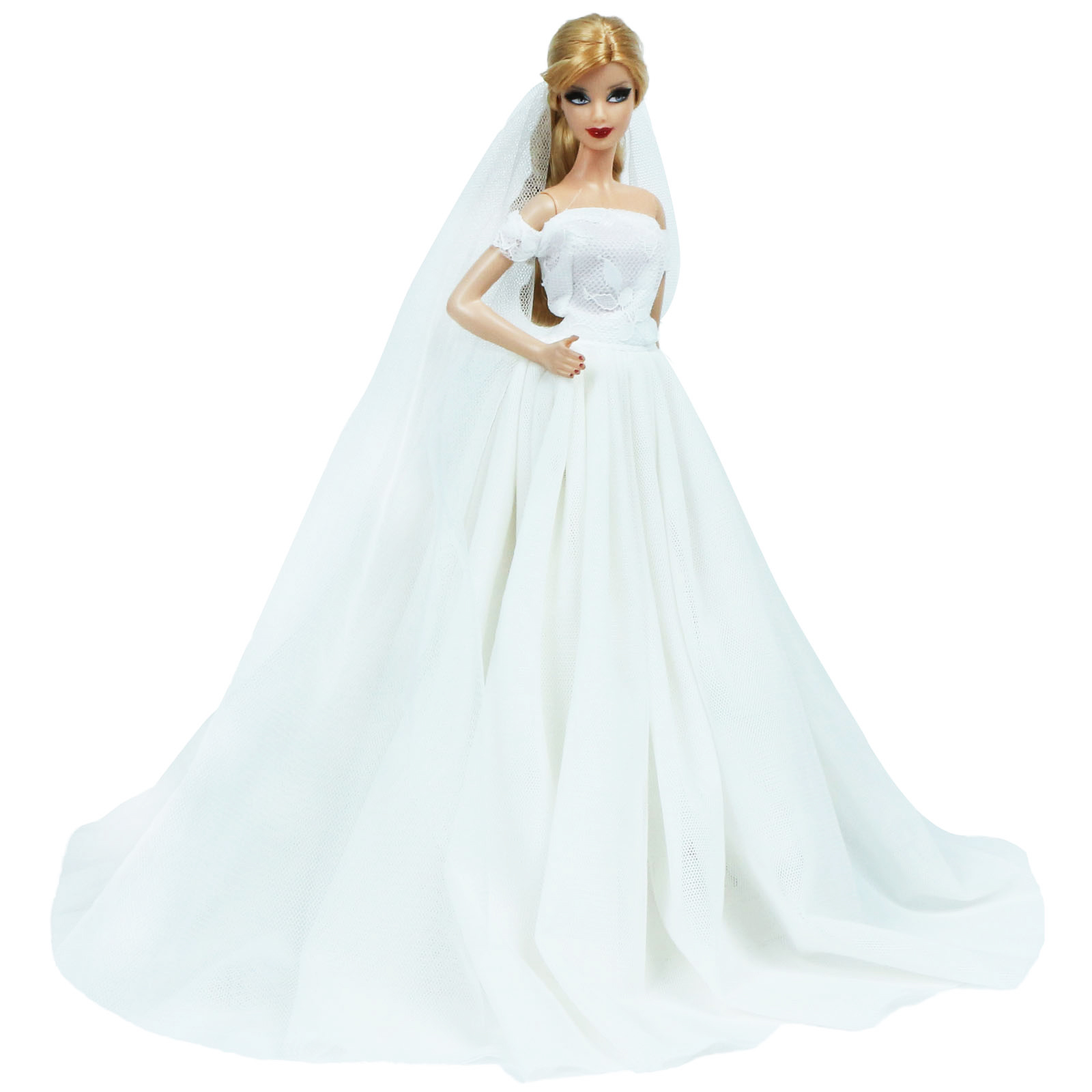 A Wedding Set a Stunning All White Wedding Gown with Veil and Black Tux for Ken