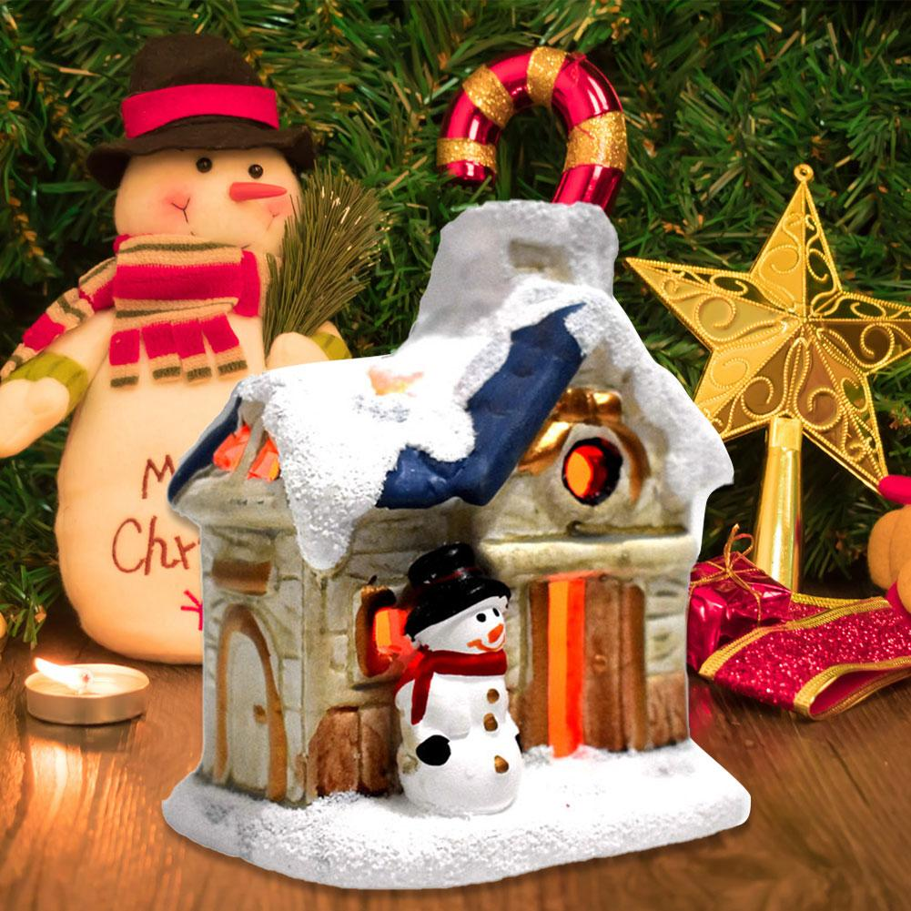 Christmas Scene Village Houses Town With Warm White LED Light Holiday Gifts Christmas Decoration For Home Festival LED Light