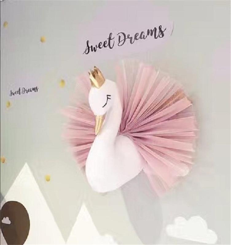 Girl Swan Doll Stuffed Toy Animal Head Wall Decor for Kids Room Birthday Wedding Gift Cute Golden Crown Swan Wall Art Hanging
