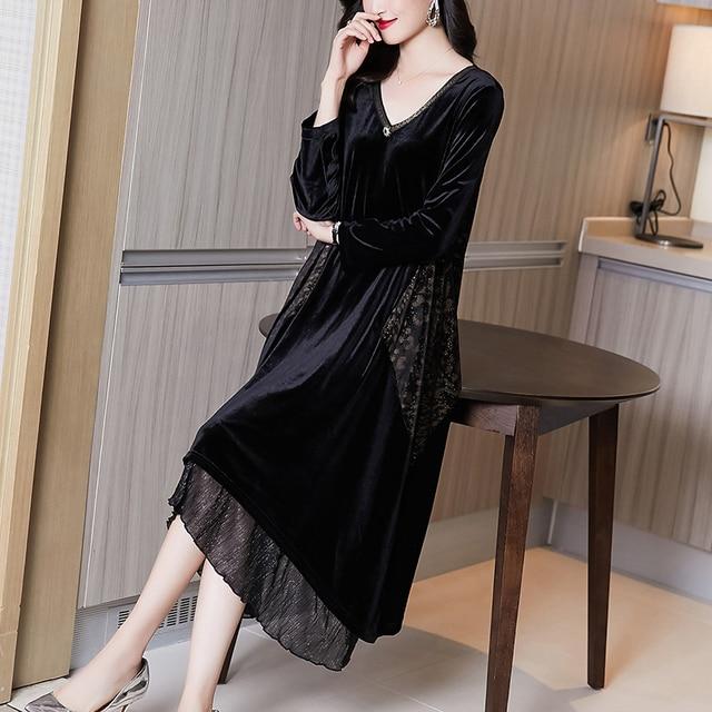Elegant Women Vintage Casual Black Maxi Dresses 2021 Autumn Winter 5XL Plus Size Long Sleeve Midi Dress Bodycon Party Vestidos 1