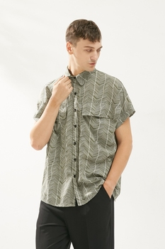 Summer square collar thin short sleeve chiffon shirt men's personality irregular stripes loose casual shirt