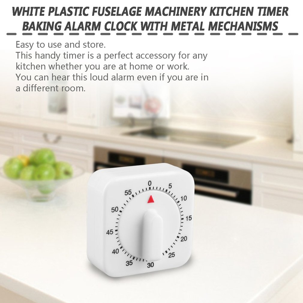 Square 60 Minute Mechanical Kitchen Cooking Timer Food Preparation Baking