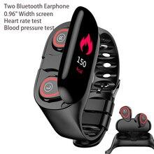 AI ساعة ذكية M1 مع 2 سماعة بلوتوث مراقب معدل ضربات القلب الذكية معصمه وقت طويل الاستعداد متعددة الوظائف الرياضة الذكية الفرقةأدوات الهواء الطلق
