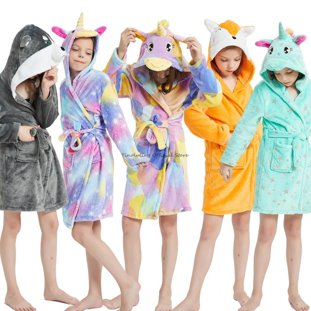 Зимний банный халат с единорогом для девочек, пижамы, халаты с капюшоном с животными, детский халат, одежда для сна для мальчиков, детский ха...
