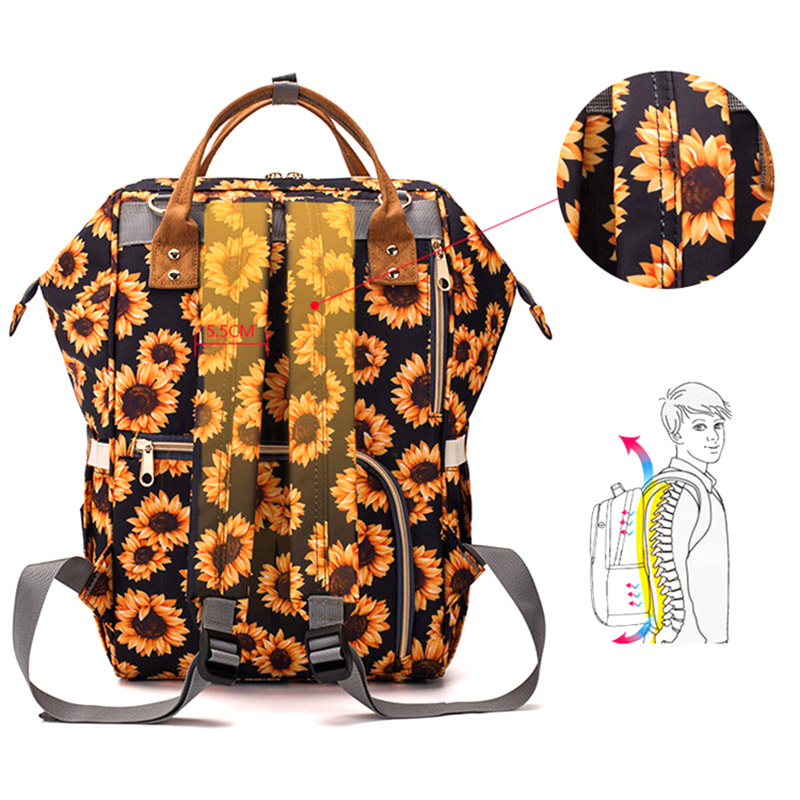 Baby Diaper Backpack Nursing Nappy Changing Bag Cactus Sunflower Print Mummy Bags Large Capacity Infant Stroller Bag MBG0447