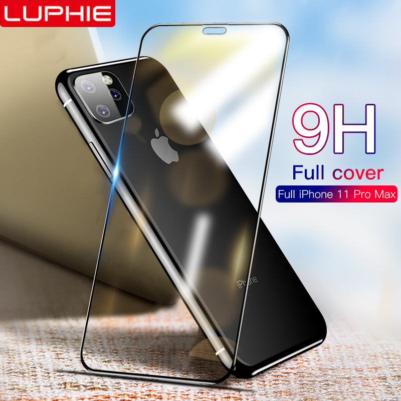 LUPHIE 6D Full Glue Cover Tempered Glass For IPhone 11 Pro Max Screen Protector For IPhone 11 Pro Max Protective Glass Film
