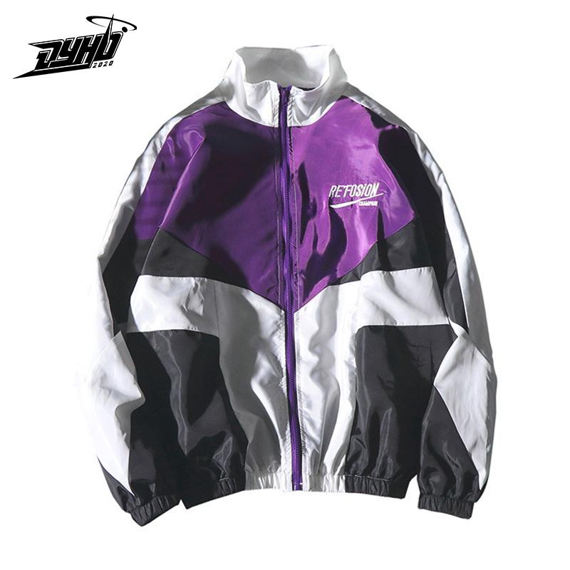 2020 Hip Hop Jackets Men Windbreaker Loose Large Size Zipper Casual Coat Patchwork Autumn Loose Casual Women Jacket Thin Jacket