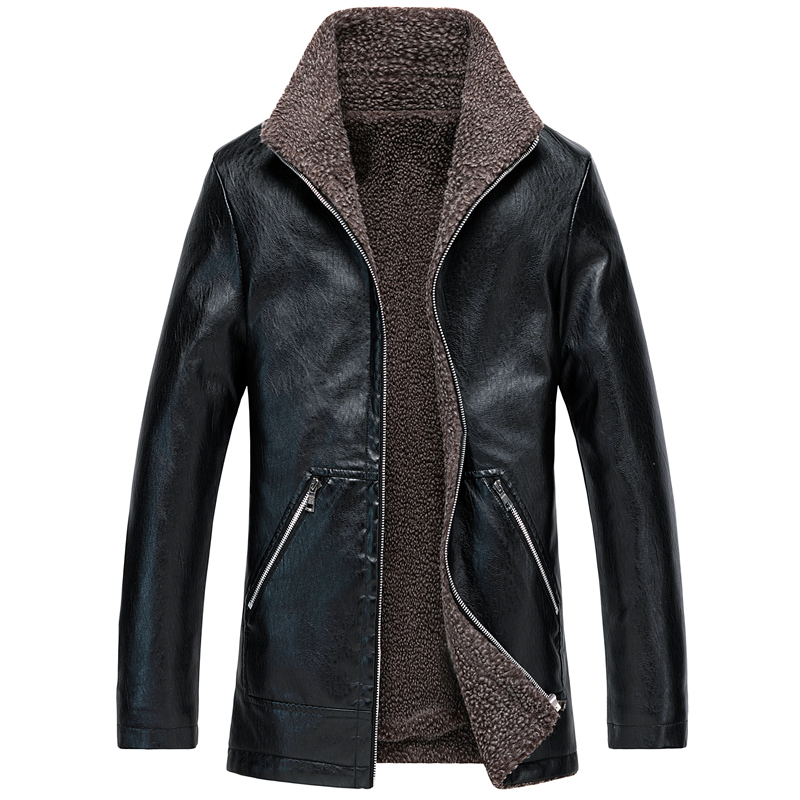 Fashion Winter Jackets Men British Thick Velvet Warm Coats Casual Outwear Long Trench Men Big Size M-8XL PU Leather Biker Jacket