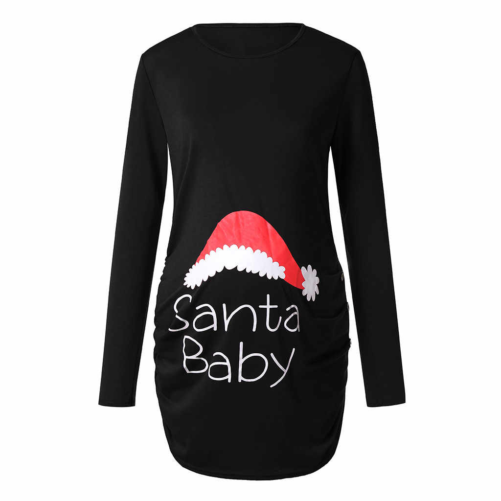 Halloween Hot Sale Tops Women's Print Christmas Side Wrinkle Long Sleeve Pregnant Tops Pregnancy Clothes ropa embarazada 40*
