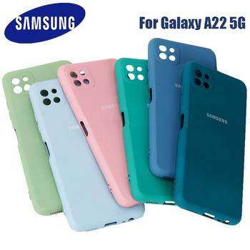 Samsung A22 5G 4G etui galaxy a 22 4g 5g 2021 płynny silikonowy futerał jedwabisty miękki w dotyku ochronna tylna pokrywa Anti-knock tanie i dobre opinie CN (pochodzenie) Częściowo przysłonięte etui Zwykły