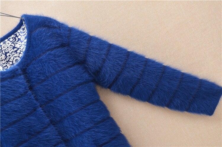 Image 5 - Top mujer women thick warm medium long stripes angora rabbit fur  knitted cardigan long sleeves sweater mink cashmere coat  winterCardigans