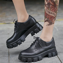Platform Oxfords Women Lace Up Cow Leather High Heel Military Ankle Boots Female Low Top Round Toe Fashion Sneakers Casual Shoes british style casual leather shoes men lace up round toe retro shoes spring summer oxfords cow leather pure black