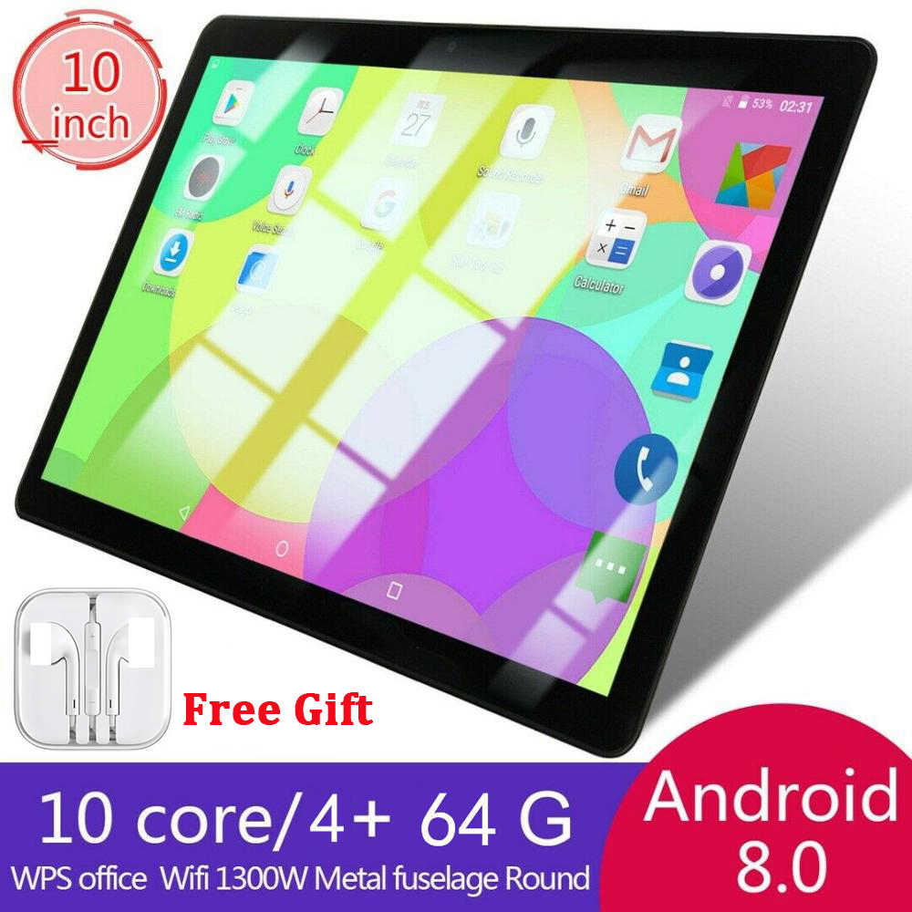 Tablet PC da 10.1 pollici Android 8.0 Dual SIM 4 + 64GB Doppia Fotocamera GPS Wi-Fi Phablet Tablet Computer